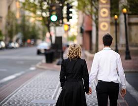 couple walking down the street