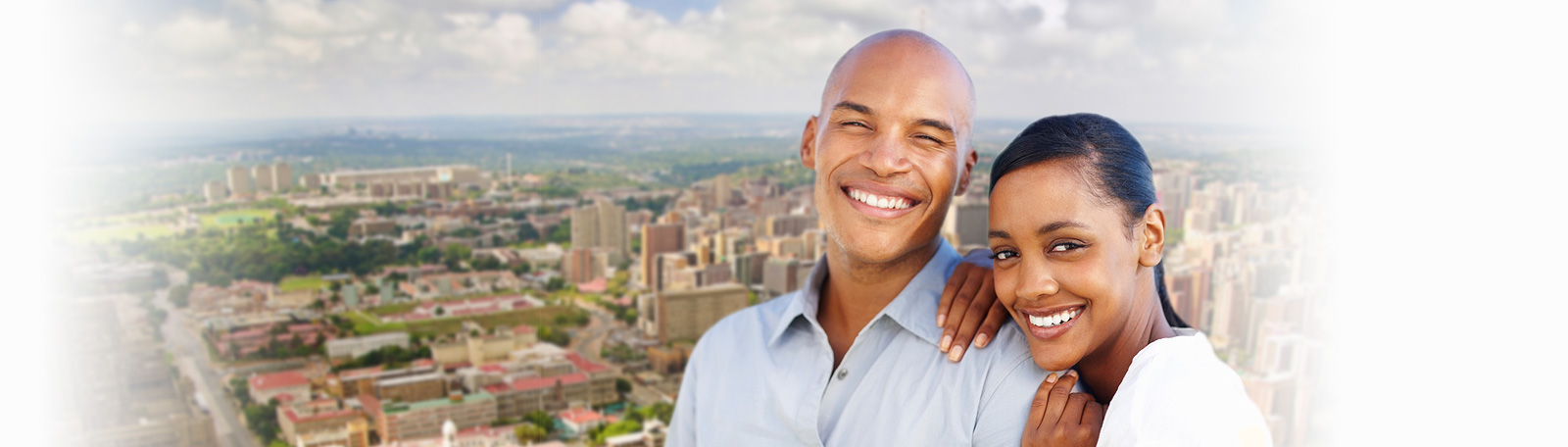 dating sites' couple with johannesburg skyline